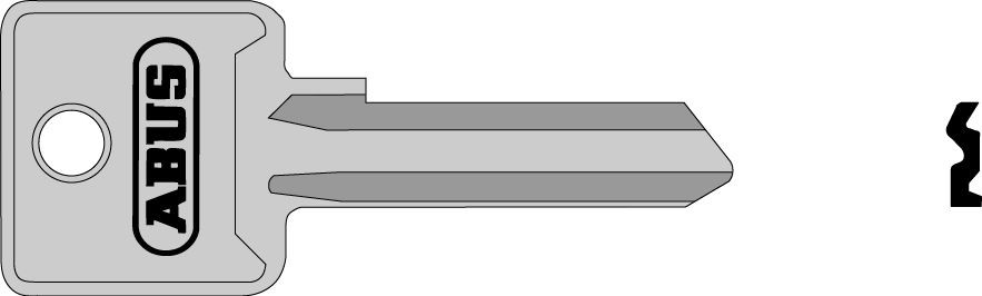 ABUS 02703 polotovar klíče pro 85/50 pravý, 85/60 pravý, 82/90, 90/50, 92/80